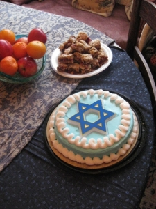 Hannukah cake (I ate several slivers) and cranberry blondies (I had 3). Whoops!
