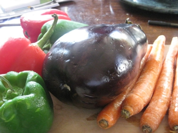 wrinkly peppers, eggplant, carrots