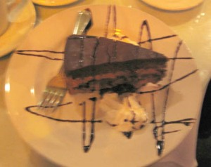 my chocolate mousse cake (but it tasted a bit of coffee with not enough chocolate and mousse in my opinion)