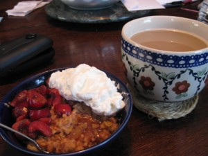 topped with 1/3 cup Greek yogurt and accompanied by my Nutcracker Sweet tea