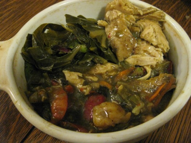 collard greens, chicken, shrimp gumbo