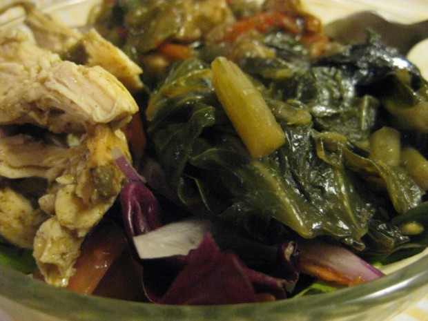 salad topped with chicken, okra gumbo with shrimp, and collard greens