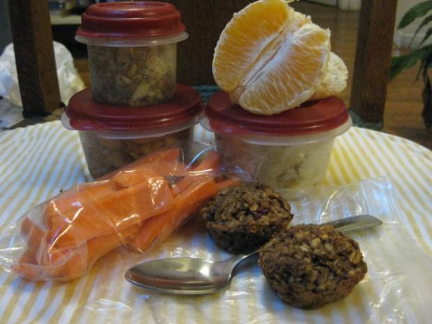 sofrito rice mix, classy pork & beans, orange, yogurt/fruit, carrot sticks, mini muffins