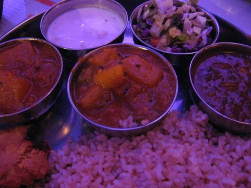black bean samosa-ish nugget and brown rice