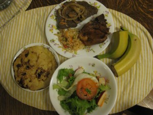 corn tortilla, steak, little rice, pork, salad, and two banana pieces (leftover from the group)