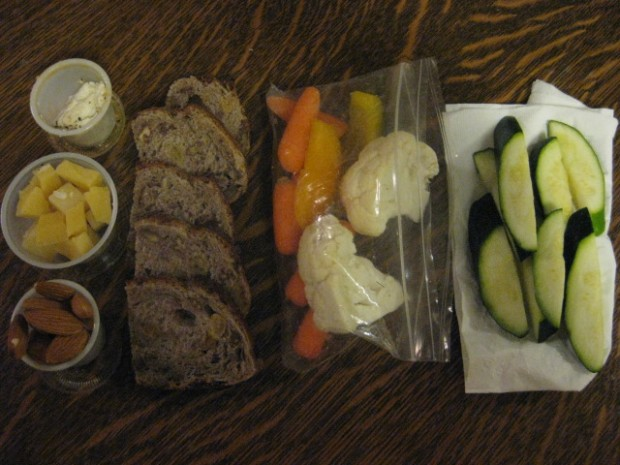 goat cheese, cheese chunks, almonds, bread (now in the freezer), carrots/peppers/cauliflower for work snacks tomorrow, and zucchini for cooking