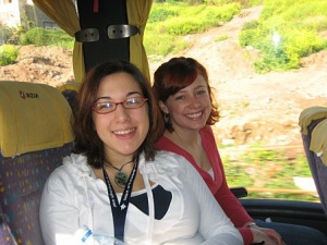 Sharon and me on our tour bus