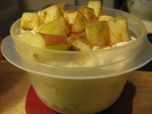 greek yogurt + apples + bananas + ginger