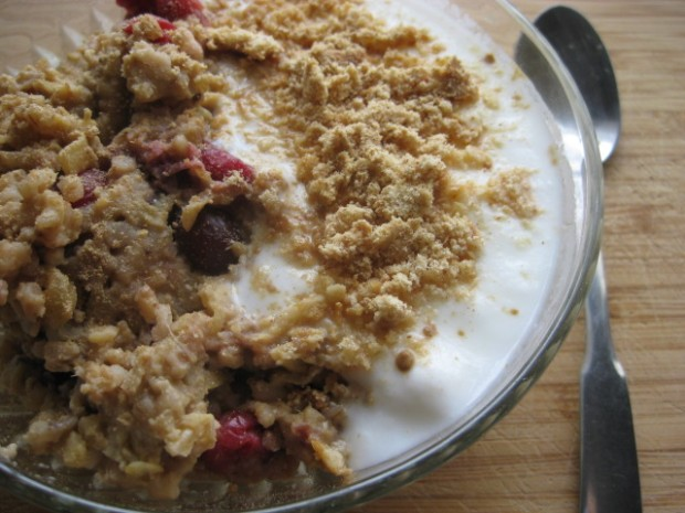 with 1/2 cup yogurt, 2 crumbled graham sticks, and more powdered ginger