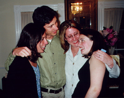 with siblings at high school graduation party in 2000 (I'm on the right)
